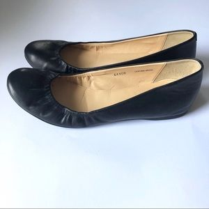 J. Crew Made in Italy Black Leather Ballet Flats